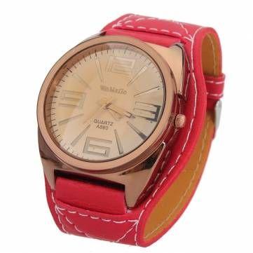 WAMAGE Fashion Big Dial Analog Quartz Leather Women Wrist Watch - US$7.38