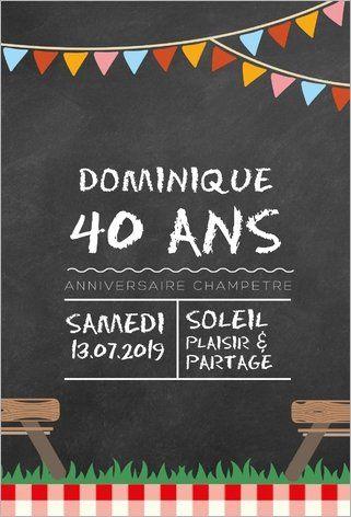 Carte d'invitation anniversaire champêtre avec fond en impression ardoise. Personnalisable et disponible en 4 formats (pliés ou non) à partir de 0.62€ sur Popcarte.com