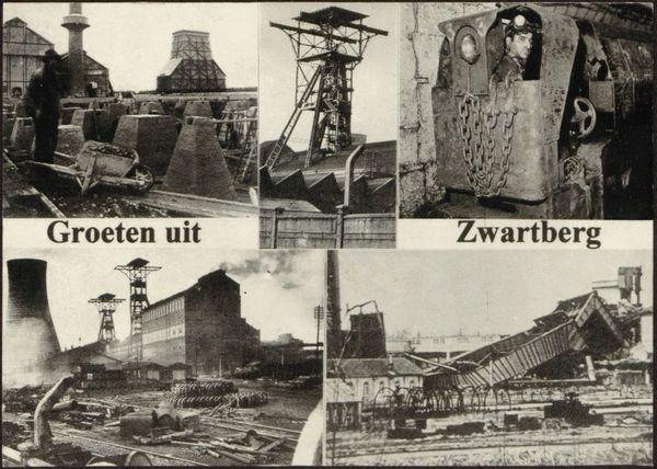 """Prentbriefkaart """"Groeten uit Zwartberg"""". De steenkoolmijn van Zwartberg (Genk) was in productie van 1926 tot 1966. Fotocollage van het begin (afdiepingstorens) en het einde (afbraak schachtbok). [Mijnstreekmuseum-Vehog v.z.w./PBL - LA-PB-GE0116]"""
