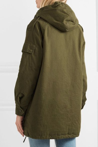 Saint Laurent - Hooded Cotton And Ramie-blend Gabardine Parka - Army green - FR36