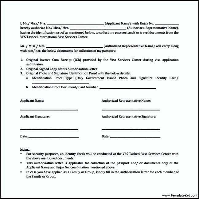 letter format for passport sample authorization receive - passport authorization letter
