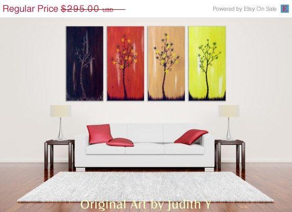ON SALE... Huge Art Four Season Trees 30x60 abstract by studiox26, $236.00