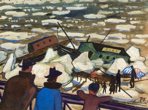 Povodeň na Vltavě by Pravoslav Kotík  Pravoslav Kotík (1889, †1970 v Praze) byl český malíř a grafik.
