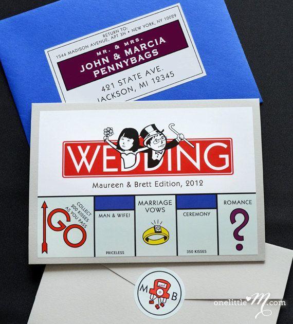 Monopolie  Monopoly bordspel Themed uitnodiging  door PaperTruly