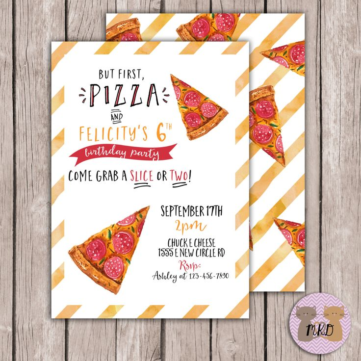 printable pizza birthday invite watercolor pizza invite pizza party invite boy or - Pizza Party Invitation