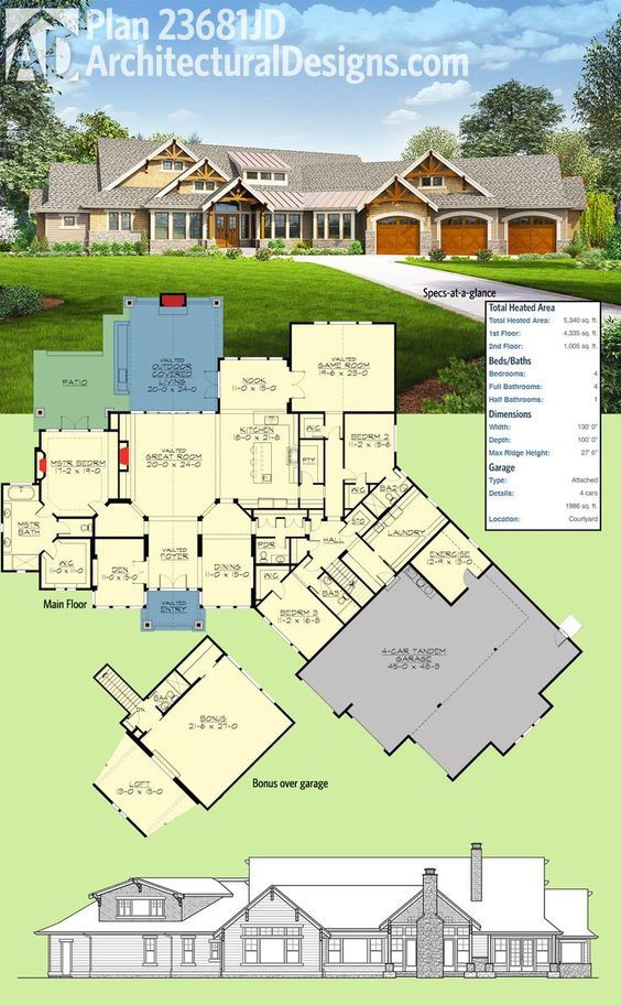 Introducing Architectural Designs House Plan 23681JD. This home has an angled 4-car tandem garage, decorative timber trusses and a vaulted covered entry and a dynamic floor plan. A bonus room with loft and full bath gives you great expansion possibilities. Ready when you are. Where do YOU want to build? – Alexandre Lavoie
