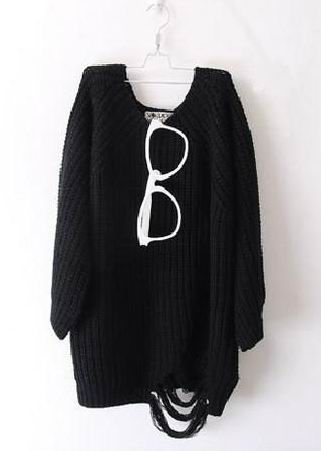 Loose Broken Holes Black Jumpers