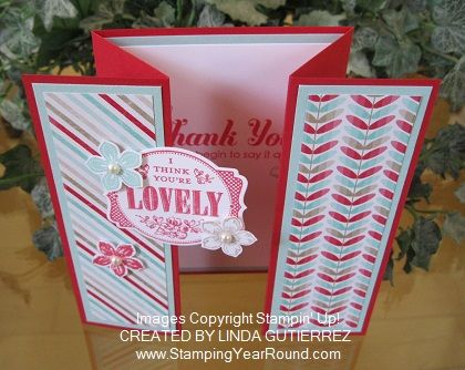 """Visit this post http://www.stampingyearround.com/2014/01/paper-crafted-z-fold-gate-card.html for a simple """"how to"""" for creating this fun """"z-fold gate card""""."""