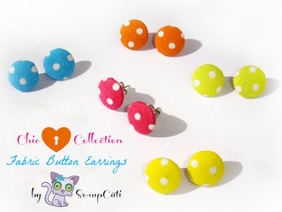 Very Chic Fabric Button Earrings Collection // Sweet by ScrapCati, €4.95
