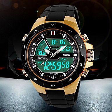 Herren Armbanduhr Japanischer Quartz LCD / Kalender / Chronograph / Wasserdicht / Duale Zeitzonen / Alarm Plastic Band Schwarz Marke- 1262740 2017 – €10.77