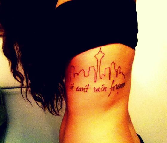 Simple Seattle Skyline Tattoo - THIS IS PRETTY MUCH EXACTLY WHAT I WANT.  PLACEMENT AND EVERYTHING!!!!
