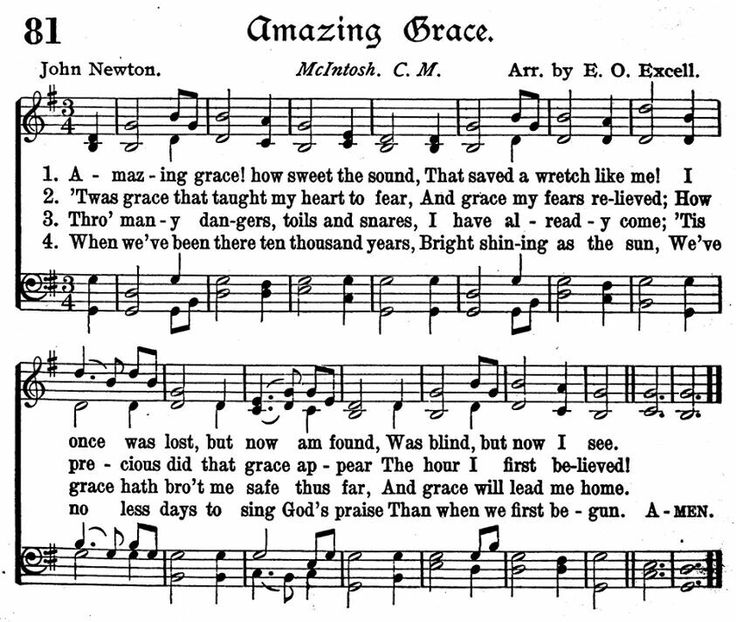 Amazing Grace Free Piano Sheet Music With Lyrics: 537 Best Music - Hymns Images On Pinterest