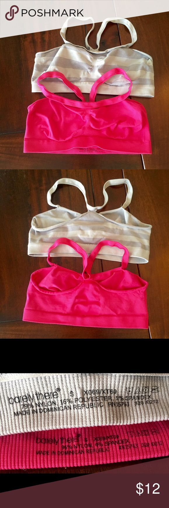 🎉 Two Barely There Bras EUC! Two Barely SM There Bras; Pink & Gray Striped! Barely There Intimates & Sleepwear Bras