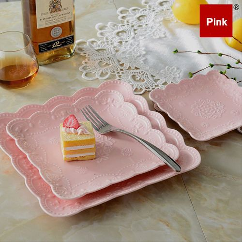 Butterfly-Square-Plate-Embossed-Ceramic-Steak-Dinnerware-Dish-Kitchen-6-8-10
