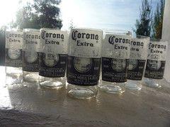 vasos para cerveza hechos de botellas de Corona  los venden on line en www.greenglass.cl