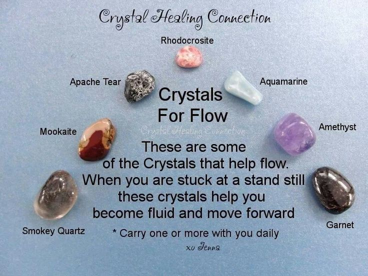 Crystal Healing for Flow: Rhodocrosite, Amethist, Smokey Quartz, Aquamarin, Mookaite, Apache Tear, Garnet
