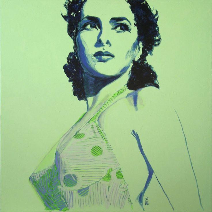 """""""Gina Lollobrigida"""", acrilico su tela cm100x100, 2015 Patrizia Marrocco www.pm-design.it"""