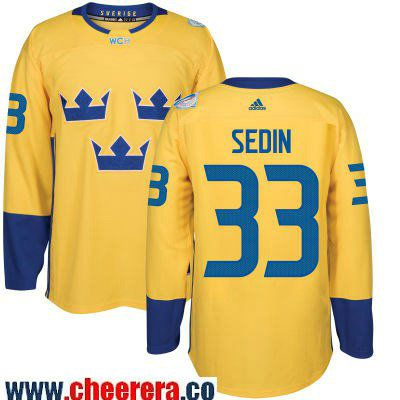 Men's Team Sweden #33 Henrik Sedin adidas Yellow 2016 World Cup of Hockey Custom Player Stitched Jersey