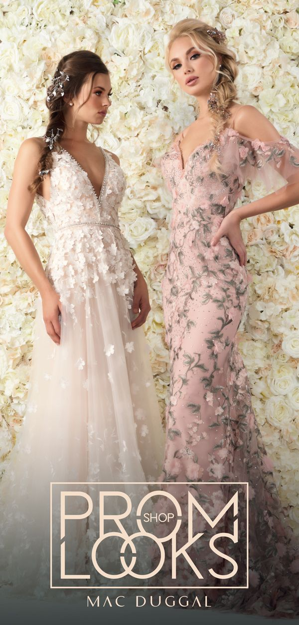 1ffc9b44fc0d These Mac Duggal gowns (styles 12145D and 50564D) and feature v-necks and  floral embroidery