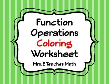 Function Operations Coloring Worksheet Resources For