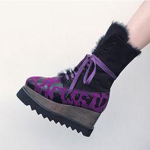Paars Luipaardprint Vierkante Teen Cross-gebonden Harige Vrouwen Wig Laarzen Star Lace Up Bottes Femelles Platform Casual Winter schoenen(China)