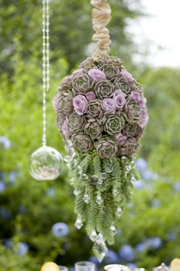 Succulent kissing ball - this one is made using florist foam, to make more permanent use chicken wire lined with landscape fabric and filled with garden soil| Living the Country Life
