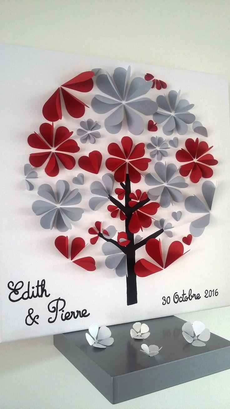 livre d'or - arbre à signature 3d- arbre à empreintes sur une toile en coton…