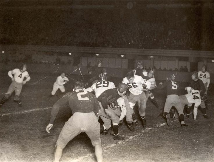 Pro Football Hall of Fame -- 80 years ago today the Chicago Bears defeated the Portsmouth Spartans (now Detroit Lions) in the NFL's first playoff game. This rare action photo was added to our collection in 2008. More: http://www.profootballhof.com/history/decades/1930s/first_playoff_game.aspx