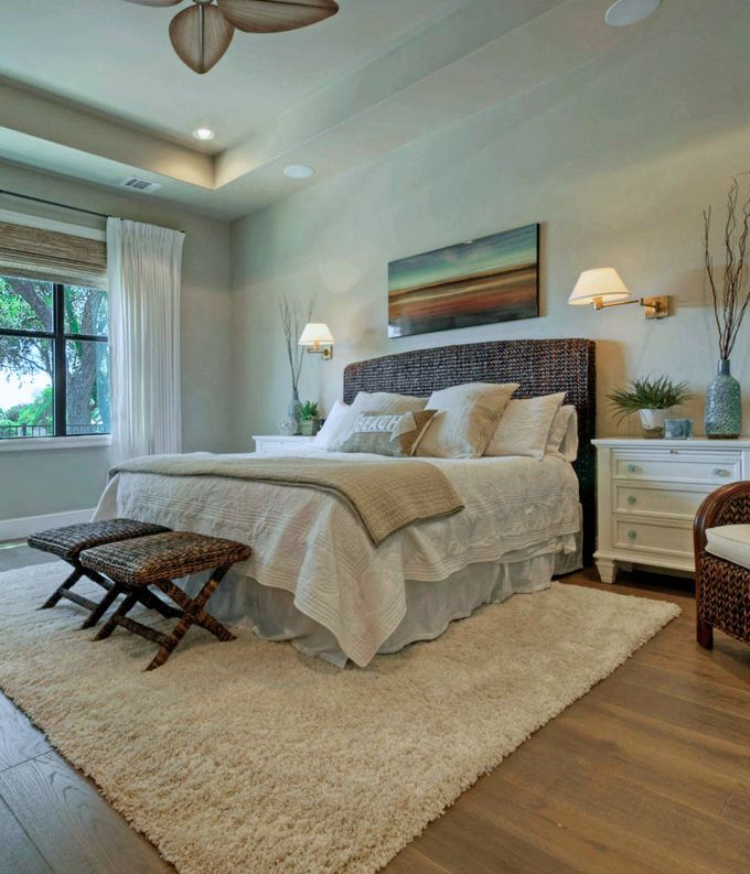 House of Turquoise: Van Wicklen Design - this eclectic bedroom gets a boost from a wicker headboard, benches and matching white chests
