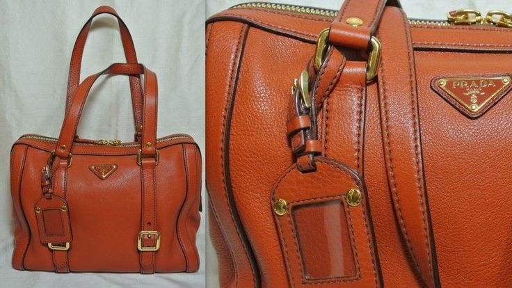 PRADA Orange Leather Satchel Handbag Shoulder Bag Purse (Large)