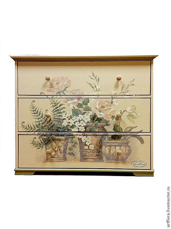 """Купить Комод """"Старые розы"""" - комод, комодик, Мебель, мебель из дерева, мебель в стиле прованс"""