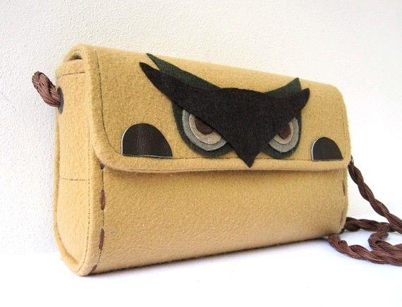 Felt Owl Purse handmade by Renkli Tasarimlar