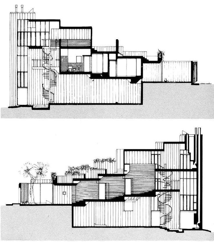 "Juvenal Baracco & Franco Vella, ""Casa Hastings"", Lima, Peru, 1976. Sections"
