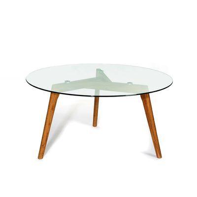 Beistelltisch Eiche mit Glasplatte Eiche natur ca D:90 x H:45 cm