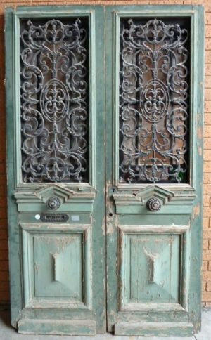 19th Century French Painted Oak And Cast Iron Entrance