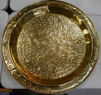 Auction of 20th Century British Pottery, collectors items, household items, antique and quality furniture – Lot 17 – Very large brass wall plaque in the form of large tray hand decorated in the art nouveau style