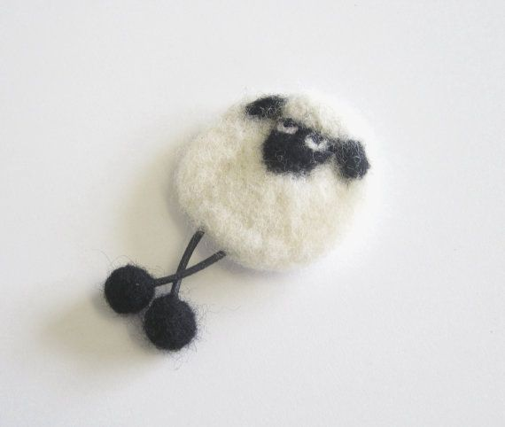 Needle Felted Sheep Brooch by PatsParaphernalia on Etsy