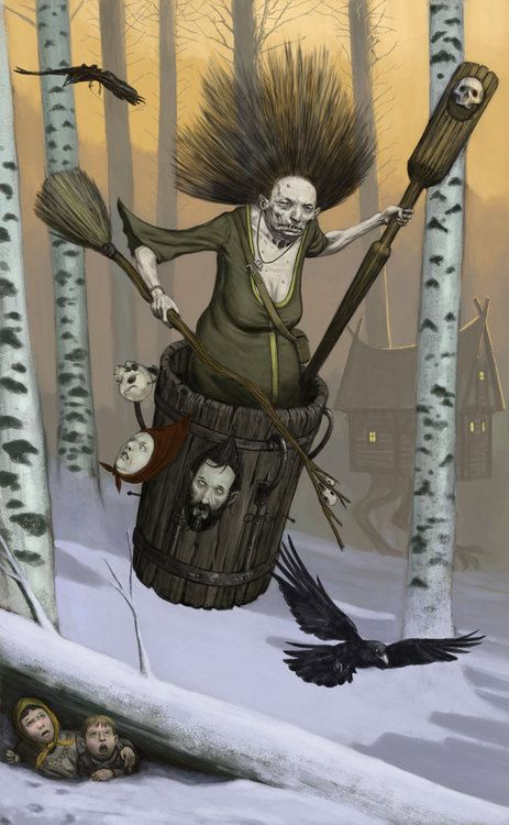 Baba Yaga -- a haggish or witchlike character in Slavic folklore. She flies around on a giant mortar, kidnaps (and presumably eats) small children, and lives in a hut that stands on chicken legs.