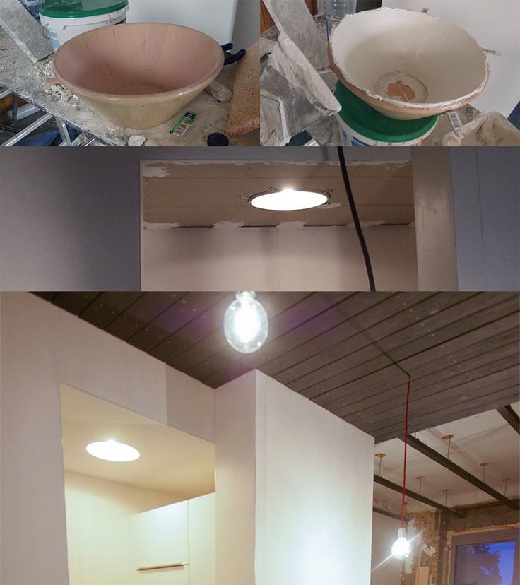 (DIY recessed light - Luminaire encastré)  Le saladier Ikea reçu à Noël de Flo: Autant que ça serve à quelque chose...