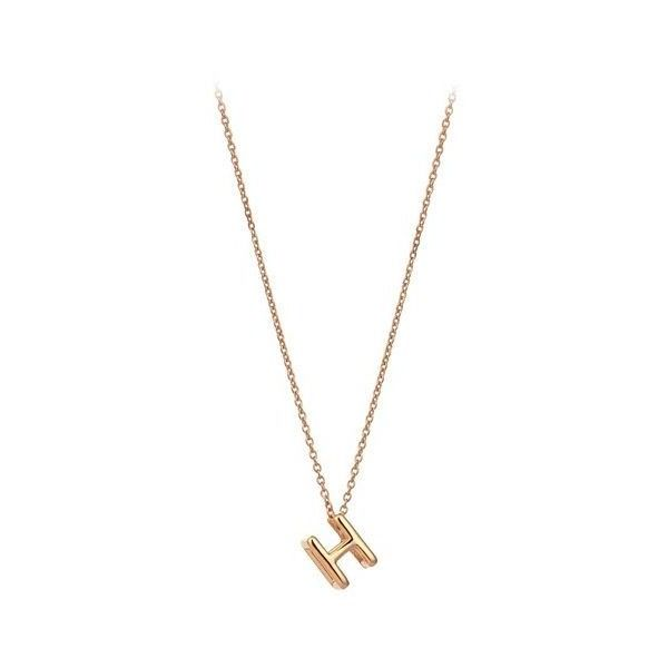 The Alkemistry Kismet by Milka 14ct rose-gold initial H necklace (211.255 CLP) ❤ liked on Polyvore featuring jewelry, necklaces, rose gold initial necklace, rose gold initial pendant, adjustable chain necklace, letter pendants and letter pendant necklace