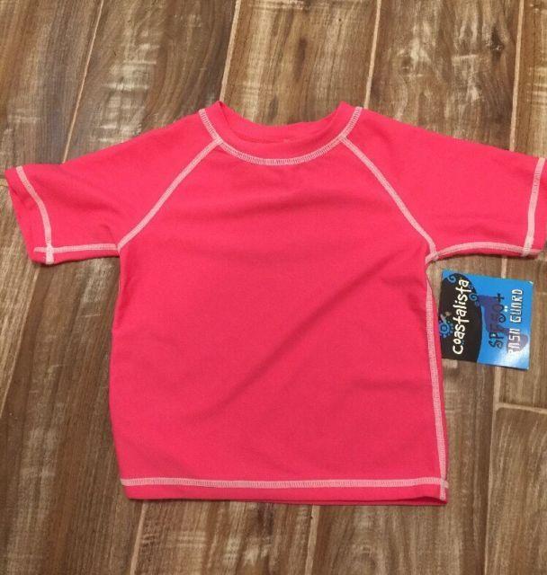 NWT Coastalista Spf 50+ Rash Guard Toddler Baby 24m Hot Pink Swim T Shirt Girls | eBay