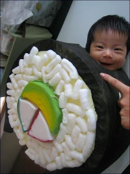 """""""Oh my God, it's an Asian baby in a sushi costume.  And he just looks so happy about it"""" -@Amy Hamilton"""
