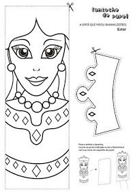 GOOD NEWS FOR CHILDREN: THE BIBLE CRAFTS. THE QUEEN ESTHER  Templates for ester. print, color and create hand puppets. Original pages is in Spanish