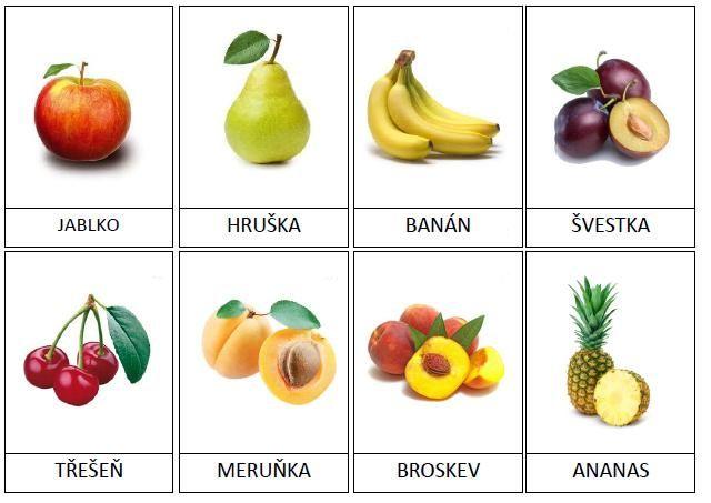 20 kartiček s ovocem