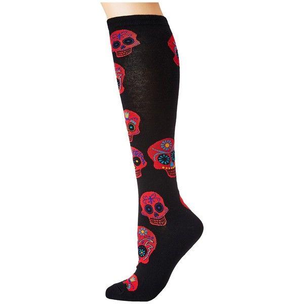 Socksmith Big Muertos Skull Knee High (Black/Red) Knee High Socks ($10) ❤ liked on Polyvore featuring intimates, hosiery, socks, knee length socks, knee socks, knee high socks, stitch socks and red knee high socks