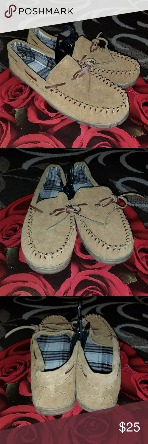 Men's Moccasin Slippers Men's Moccasin Slippers,  Size S (7-8)  Color Tan, Brand New, Never worn,  Genuine Leather!!!  Nice COMFORTABLE Slip-Ons!!! Have any questions before purchase just ask and I'll try to answer!!!  All Sales Are Final!!!  NO RETURNS!!! Shoes Loafers & Slip-Ons