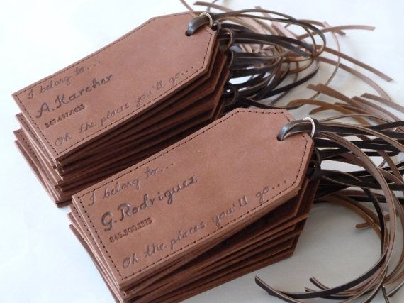 Personalised Leather Luggage Tag on Etsy, $14.99..... Great for graduation gifts or wedding party gifts (bridesmaids or groomsmen!!!)