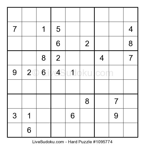 Hard Sudoku Puzzle Number 1095774 This Sudoku Is A Bit More Difficult Than What People Are Used To Solve Use Our Tutorials Sudoku Hard Puzzles Sudoku Puzzles