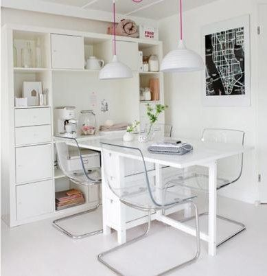 Smart for small apartments. Should consider some transparent chairs to make the room look more spacious.