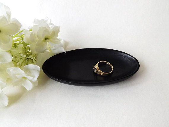 Real #Ebony Wood Dish, Small Pin Tray, Desk Accessory, Dresser Dish, Cuff Link Tray, Black Ring Dish, Wood Lovers Gift, #Antique Home